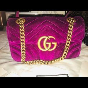 Authentic Gucci Velvet Marmont Shoulder Bag.